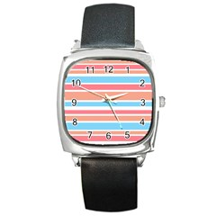 Orange Blue Stripes Square Metal Watch by BrightVibesDesign