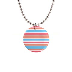 Orange Blue Stripes Button Necklaces by BrightVibesDesign