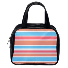 Orange Blue Stripes Classic Handbags (one Side) by BrightVibesDesign