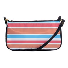Orange Blue Stripes Shoulder Clutch Bags by BrightVibesDesign