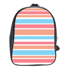 Orange Blue Stripes School Bags (xl)  by BrightVibesDesign