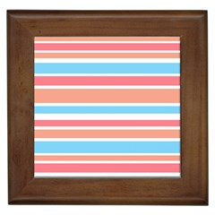 Orange Blue Stripes Framed Tiles by BrightVibesDesign