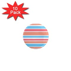 Orange Blue Stripes 1  Mini Magnet (10 Pack)  by BrightVibesDesign