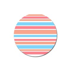 Orange Blue Stripes Magnet 3  (round) by BrightVibesDesign