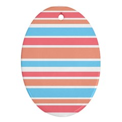 Orange Blue Stripes Oval Ornament (two Sides) by BrightVibesDesign