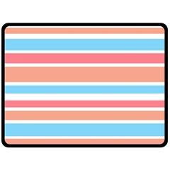 Orange Blue Stripes Double Sided Fleece Blanket (large)  by BrightVibesDesign