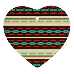 Stripes And Rhombus Chains                                      			ornament (heart) by LalyLauraFLM