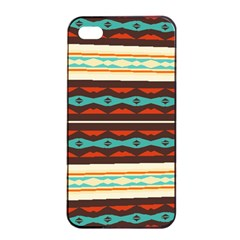 Stripes And Rhombus Chains                                      			apple Iphone 4/4s Seamless Case (black) by LalyLauraFLM