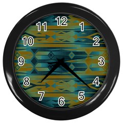 Blue Green Gradient Shapes                                       			wall Clock (black) by LalyLauraFLM