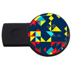 Colorful Shapes On A Blue Background                                        			usb Flash Drive Round (2 Gb) by LalyLauraFLM