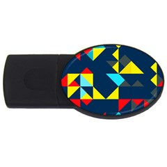 Colorful Shapes On A Blue Background                                        			usb Flash Drive Oval (4 Gb) by LalyLauraFLM