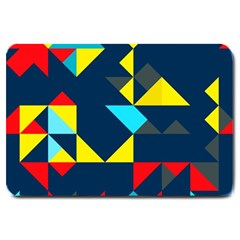 Colorful Shapes On A Blue Background                                        			large Doormat by LalyLauraFLM