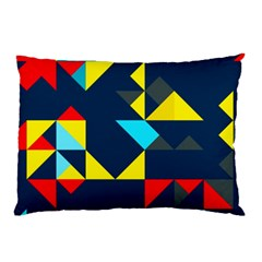 Colorful Shapes On A Blue Background                                        			pillow Case by LalyLauraFLM