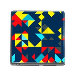Colorful Shapes On A Blue Background                                        			memory Card Reader (square) by LalyLauraFLM