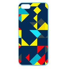 Colorful Shapes On A Blue Background                                        			apple Seamless Iphone 5 Case (color) by LalyLauraFLM
