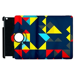 Colorful Shapes On A Blue Background                                        			apple Ipad 3/4 Flip 360 Case by LalyLauraFLM