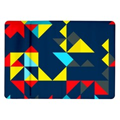Colorful Shapes On A Blue Background                                        			samsung Galaxy Tab 10 1  P7500 Flip Case by LalyLauraFLM