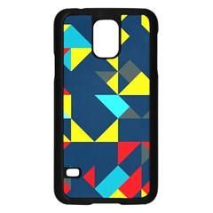 Colorful Shapes On A Blue Background                                        			samsung Galaxy S5 Case (black) by LalyLauraFLM