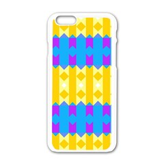 Rhombus And Other Shapes Pattern                                          			apple Iphone 6/6s White Enamel Case by LalyLauraFLM