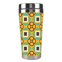 Flowers And Squares Pattern                                            Stainless Steel Travel Tumbler by LalyLauraFLM