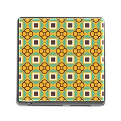 Flowers And Squares Pattern                                            			memory Card Reader (square) by LalyLauraFLM