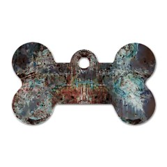 Metallic Copper Patina Urban Grunge Texture Dog Tag Bone (two Sides) by CrypticFragmentsDesign