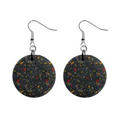Abstract Reg Mini Button Earrings
