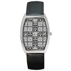 Black And White Barrel Style Metal Watch