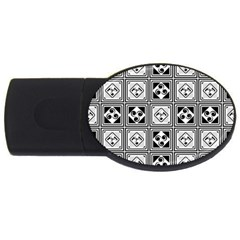 Black And White Usb Flash Drive Oval (4 Gb)