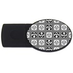 Black And White USB Flash Drive Oval (4 GB)  Front