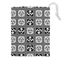 Black And White Drawstring Pouches (xxl) by FunkyPatterns