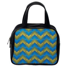 Blue And Yellow Classic Handbags (one Side) by FunkyPatterns