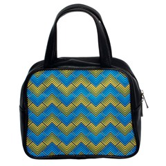 Blue And Yellow Classic Handbags (2 Sides) by FunkyPatterns