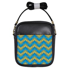 Blue And Yellow Girls Sling Bags by FunkyPatterns