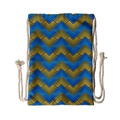 Blue And Yellow Drawstring Bag (small) by FunkyPatterns