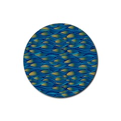Blue Waves Rubber Round Coaster (4 Pack)  by FunkyPatterns