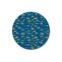 Blue Waves Magnet 3  (round) by FunkyPatterns