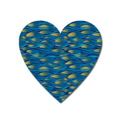 Blue Waves Heart Magnet by FunkyPatterns