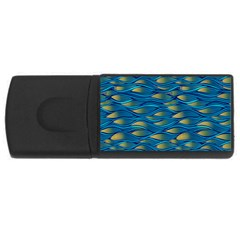 Blue Waves Usb Flash Drive Rectangular (4 Gb)  by FunkyPatterns