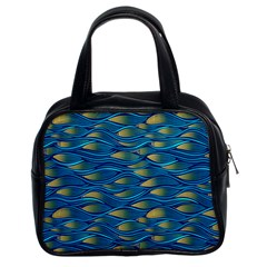 Blue Waves Classic Handbags (2 Sides) by FunkyPatterns