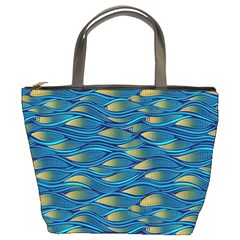 Blue Waves Bucket Bags by FunkyPatterns