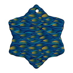 Blue Waves Snowflake Ornament (2 Side) by FunkyPatterns