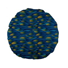 Blue Waves Standard 15  Premium Flano Round Cushions by FunkyPatterns