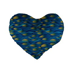 Blue Waves Standard 16  Premium Flano Heart Shape Cushions by FunkyPatterns