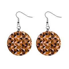 Brown Tiles Mini Button Earrings by FunkyPatterns
