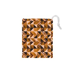 Brown Tiles Drawstring Pouches (xs)  by FunkyPatterns