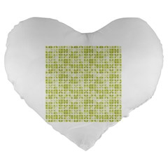 Pastel Green Large 19  Premium Flano Heart Shape Cushions by FunkyPatterns