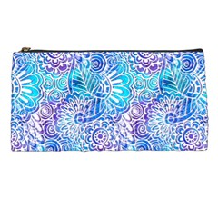 Boho Flower Doodle On Blue Watercolor Pencil Cases by KirstenStar