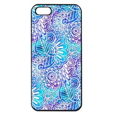 Boho Flower Doodle On Blue Watercolor Apple Iphone 5 Seamless Case (black)