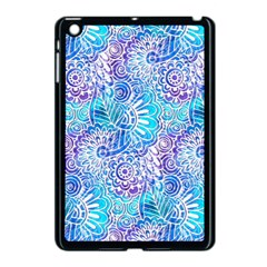 Boho Flower Doodle On Blue Watercolor Apple Ipad Mini Case (black)